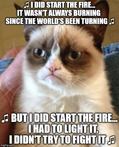 Grumpy Cat Meme |  ♫ I DID START THE FIRE... IT WASN'T ALWAYS BURNING   SINCE THE WORLD'S BEEN TURNING ♫; ♫ BUT I DID START THE FIRE...    I HAD TO LIGHT IT,   I DIDN'T TRY TO FIGHT IT ♫ | image tagged in memes,grumpy cat | made w/ Imgflip meme maker