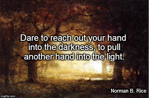 Reach Out Your Hand | Dare to reach out your hand into the darkness, to pull another hand into the light. Norman B. Rice | image tagged in hope,help,light,awakening | made w/ Imgflip meme maker