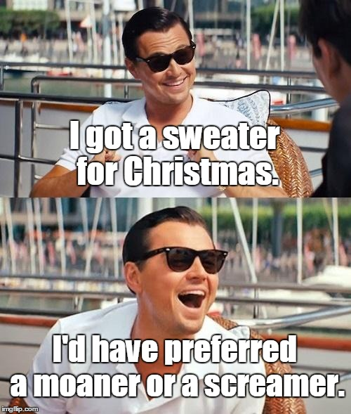 Leonardo Dicaprio Wolf Of Wall Street Meme | I got a sweater for Christmas. I'd have preferred a moaner or a screamer. | image tagged in memes,leonardo dicaprio wolf of wall street | made w/ Imgflip meme maker
