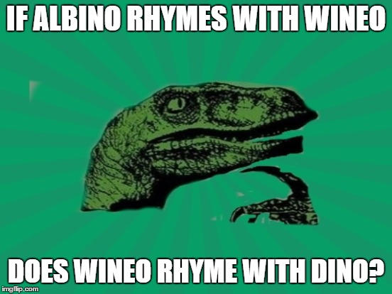 IF ALBINO RHYMES WITH WINEO DOES WINEO RHYME WITH DINO? | made w/ Imgflip meme maker
