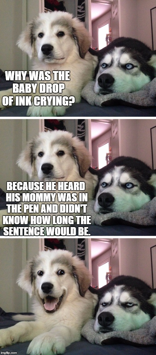 Bad pun dogs | WHY WAS THE BABY DROP OF INK CRYING? BECAUSE HE HEARD HIS MOMMY WAS IN THE PEN AND DIDN'T KNOW HOW LONG THE SENTENCE WOULD BE. | image tagged in bad pun dogs | made w/ Imgflip meme maker