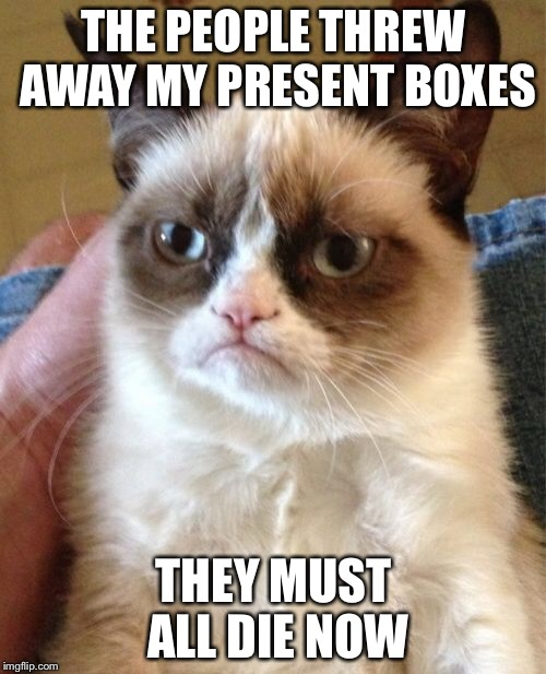 Grumpy Cat Meme | THE PEOPLE THREW AWAY MY PRESENT BOXES THEY MUST ALL DIE NOW | image tagged in memes,grumpy cat | made w/ Imgflip meme maker
