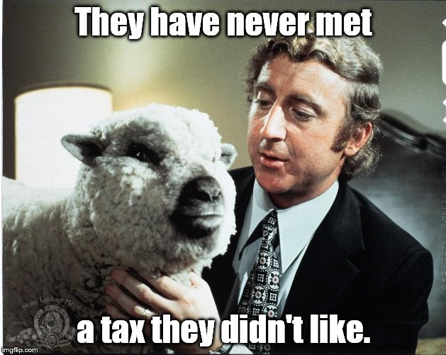 Baaa | They have never met a tax they didn't like. | image tagged in baaa | made w/ Imgflip meme maker