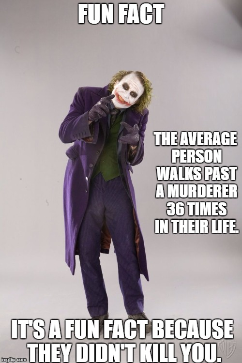Who would have thought |  FUN FACT; THE AVERAGE PERSON WALKS PAST A MURDERER 36 TIMES IN THEIR LIFE. IT'S A FUN FACT BECAUSE THEY DIDN'T KILL YOU. | image tagged in danger | made w/ Imgflip meme maker