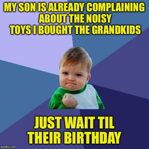 Success Kid Meme | MY SON IS ALREADY COMPLAINING ABOUT THE NOISY TOYS I BOUGHT THE GRANDKIDS JUST WAIT TIL THEIR BIRTHDAY | image tagged in memes,success kid | made w/ Imgflip meme maker
