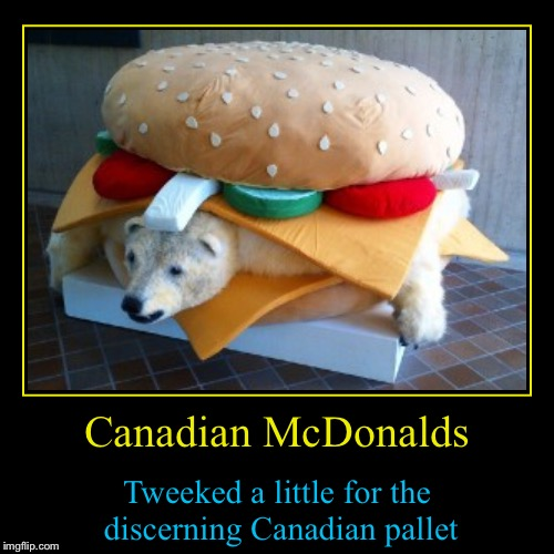 Did you know....... | Canadian McDonalds | Tweeked a little for the discerning Canadian pallet | image tagged in funny,demotivationals,evilmandoevil,meanwhile in canada,memes | made w/ Imgflip demotivational maker