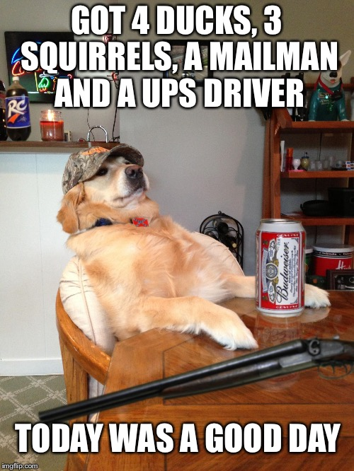 redneck retriever | GOT 4 DUCKS, 3 SQUIRRELS, A MAILMAN AND A UPS DRIVER TODAY WAS A GOOD DAY | image tagged in redneck retriever | made w/ Imgflip meme maker