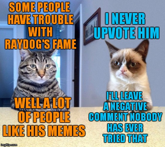 Take a seat cat and grumpy cat review | SOME PEOPLE HAVE TROUBLE WITH RAYDOG'S FAME I'LL LEAVE A NEGATIVE COMMENT NOBODY HAS EVER TRIED THAT I NEVER UPVOTE HIM WELL A LOT OF PEOPLE | image tagged in take a seat cat and grumpy cat review | made w/ Imgflip meme maker