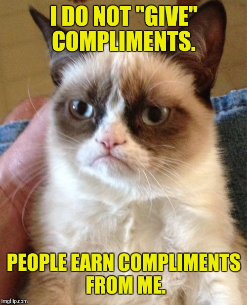 "Grumpy Cat Meme | I DO NOT ""GIVE"" COMPLIMENTS. PEOPLE EARN COMPLIMENTS FROM ME. 