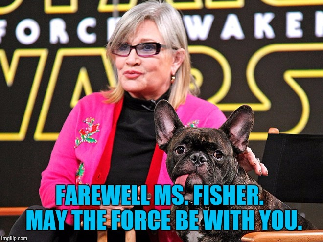 You Will Be Missed | FAREWELL MS. FISHER.  MAY THE FORCE BE WITH YOU. | image tagged in fisher,carrie fisher,memorial,may the force be with you | made w/ Imgflip meme maker