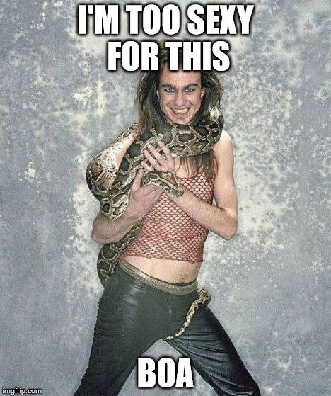 Fabulous Frank And His Snake | I'M TOO SEXY FOR THIS BOA | image tagged in memes,fabulous frank and his snake | made w/ Imgflip meme maker