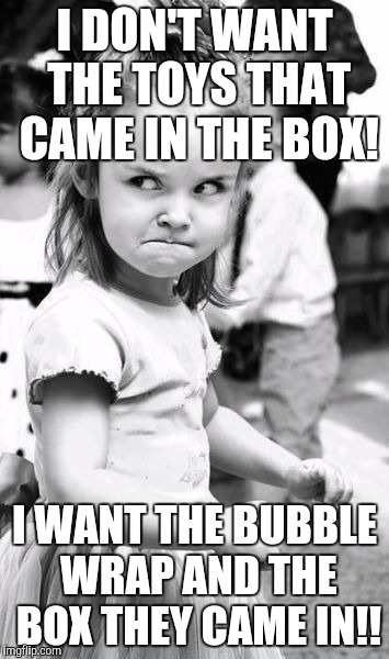 Every parent knows this struggle! | I DON'T WANT THE TOYS THAT CAME IN THE BOX! I WANT THE BUBBLE WRAP AND THE BOX THEY CAME IN!! | image tagged in memes,angry toddler | made w/ Imgflip meme maker
