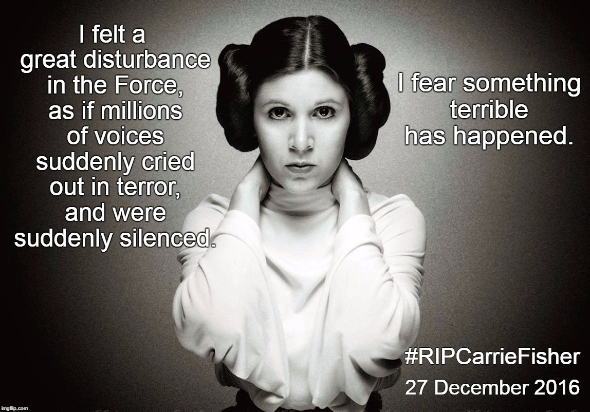 I felt a great disturbance in the Force, as if millions of voices suddenly cried out in terror, and were suddenly silenced. I fear something | image tagged in carrie fisher hd | made w/ Imgflip meme maker