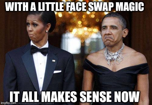 It only took 8 years to figure this out! | WITH A LITTLE FACE SWAP MAGIC IT ALL MAKES SENSE NOW | image tagged in barack and michelle,face swap,obama | made w/ Imgflip meme maker