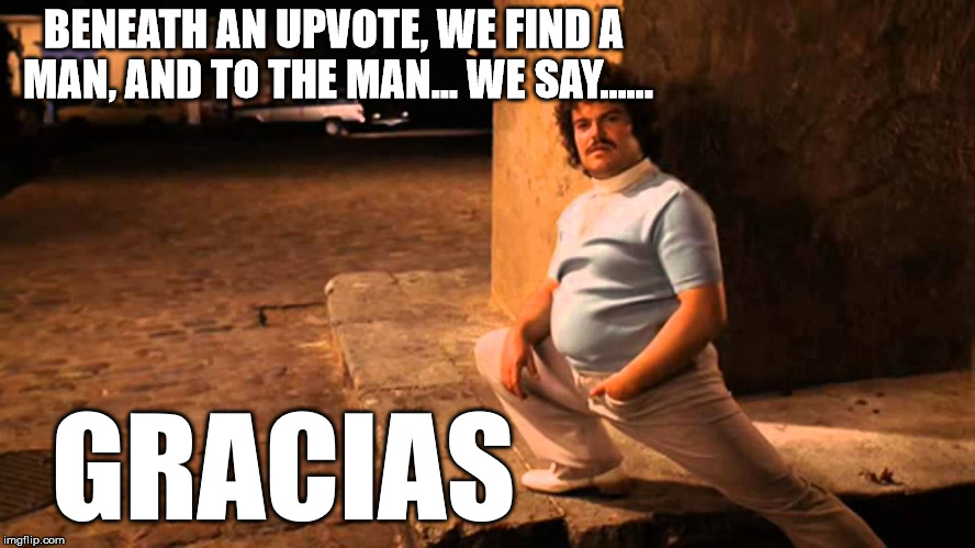 Nacho | BENEATH AN UPVOTE, WE FIND A MAN, AND TO THE MAN... WE SAY...... GRACIAS | image tagged in nacho | made w/ Imgflip meme maker