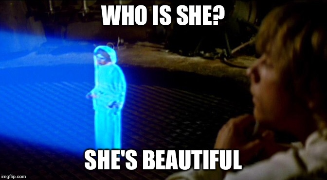 Star Wars Princess Leia Carrie Fisher |  WHO IS SHE? SHE'S BEAUTIFUL | image tagged in princess leia,star wars,carrie fisher | made w/ Imgflip meme maker