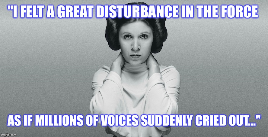 """I FELT A GREAT DISTURBANCE IN THE FORCE AS IF MILLIONS OF VOICES SUDDENLY CRIED OUT..."" 