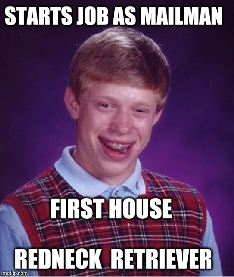Bad Luck Brian Meme | STARTS JOB AS MAILMAN FIRST HOUSE REDNECK  RETRIEVER | image tagged in memes,bad luck brian | made w/ Imgflip meme maker