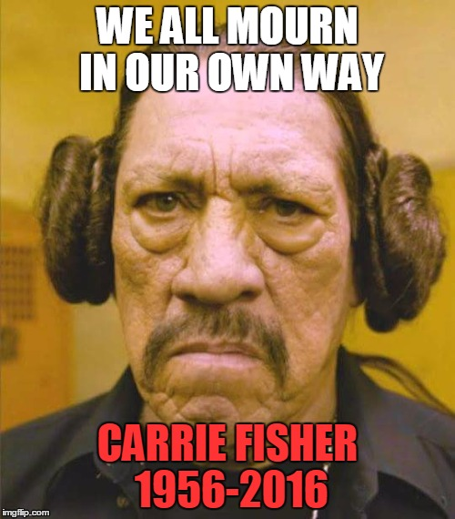 Danny Trejo Princess Leia | WE ALL MOURN IN OUR OWN WAY CARRIE FISHER 1956-2016 | image tagged in danny trejo princess leia,memes,star wars,carrie fisher,princess leia | made w/ Imgflip meme maker