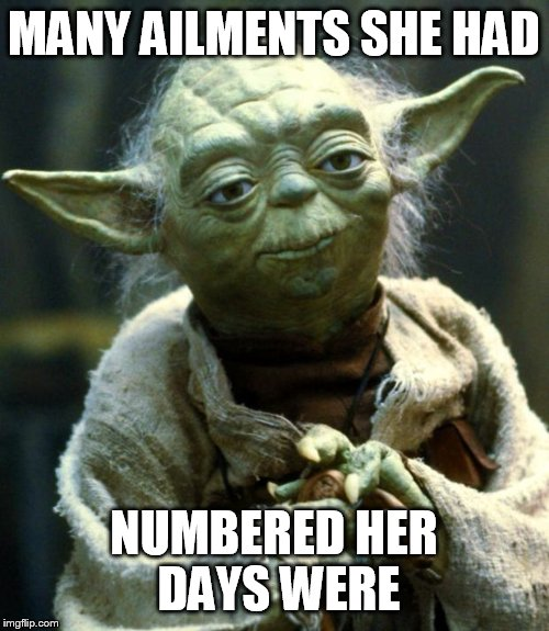 Star Wars Yoda Meme | MANY AILMENTS SHE HAD NUMBERED HER DAYS WERE | image tagged in memes,star wars yoda | made w/ Imgflip meme maker