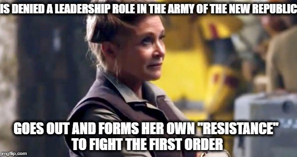"Princess Leia The Force Awakens | IS DENIED A LEADERSHIP ROLE IN THE ARMY OF THE NEW REPUBLIC GOES OUT AND FORMS HER OWN ""RESISTANCE"" TO FIGHT THE FIRST ORDER 
