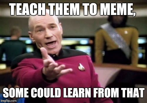 Picard Wtf Meme | TEACH THEM TO MEME, SOME COULD LEARN FROM THAT | image tagged in memes,picard wtf | made w/ Imgflip meme maker