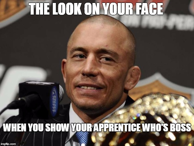 THE LOOK ON YOUR FACE WHEN YOU SHOW YOUR APPRENTICE WHO'S BOSS | image tagged in defender,championship,winner | made w/ Imgflip meme maker