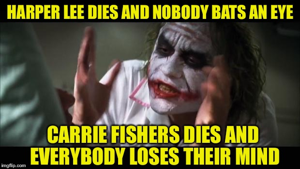 And everybody loses their minds Meme | HARPER LEE DIES AND NOBODY BATS AN EYE CARRIE FISHERS DIES AND EVERYBODY LOSES THEIR MIND | image tagged in memes,and everybody loses their minds | made w/ Imgflip meme maker