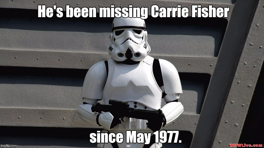 Storm Trooper | He's been missing Carrie Fisher since May 1977. | image tagged in storm trooper | made w/ Imgflip meme maker