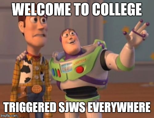 Safety everywhere | WELCOME TO COLLEGE TRIGGERED SJWS EVERYWHERE | image tagged in memes,x,x everywhere,x x everywhere,sjws | made w/ Imgflip meme maker
