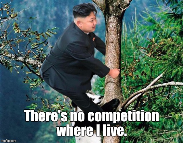 Kim Jong Un 7 | There's no competition where I live. | image tagged in kim jong un 7 | made w/ Imgflip meme maker