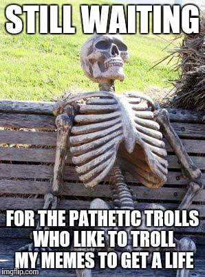 Waiting Skeleton Meme | STILL WAITING FOR THE PATHETIC TROLLS WHO LIKE TO TROLL MY MEMES TO GET A LIFE | image tagged in memes,waiting skeleton | made w/ Imgflip meme maker