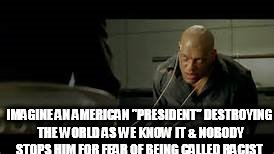 "IMAGINE AN AMERICAN ""PRESIDENT"" DESTROYING THE WORLD AS WE KNOW IT & NOBODY STOPS HIM FOR FEAR OF BEING CALLED RACIST 