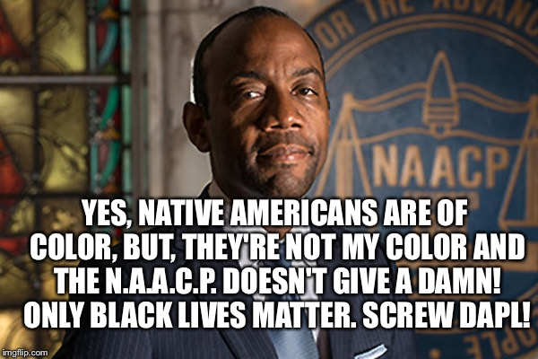 YES, NATIVE AMERICANS ARE OF COLOR, BUT, THEY'RE NOT MY COLOR AND THE N.A.A.C.P. DOESN'T GIVE A DAMN! ONLY BLACK LIVES MATTER. SCREW DAPL! | image tagged in naacp | made w/ Imgflip meme maker