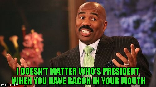 That's just the way it is! | I DOESN'T MATTER WHO'S PRESIDENT WHEN YOU HAVE BACON IN YOUR MOUTH | image tagged in memes,steve harvey,funny,bacon | made w/ Imgflip meme maker
