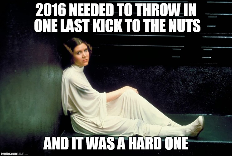 RIP Carrie Fisher | 2016 NEEDED TO THROW IN ONE LAST KICK TO THE NUTS AND IT WAS A HARD ONE | image tagged in carrie fisher | made w/ Imgflip meme maker