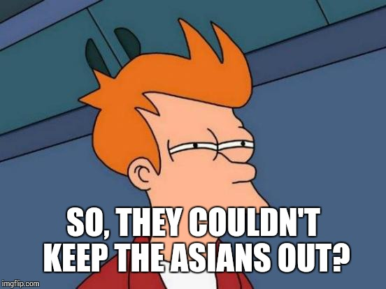 Futurama Fry Meme | SO, THEY COULDN'T KEEP THE ASIANS OUT? | image tagged in memes,futurama fry | made w/ Imgflip meme maker