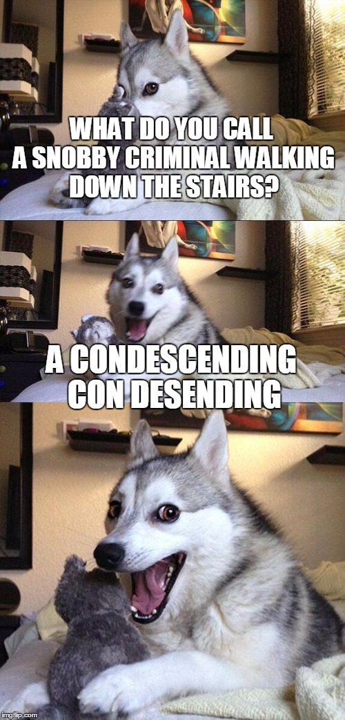 Bad Pun Dog Meme | WHAT DO YOU CALL A SNOBBY CRIMINAL WALKING DOWN THE STAIRS? A CONDESCENDING CON DESENDING | image tagged in memes,bad pun dog | made w/ Imgflip meme maker