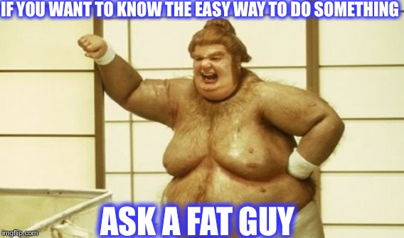 Ask a fat guy | IF YOU WANT TO KNOW THE EASY WAY TO DO SOMETHING ASK A FAT GUY | image tagged in fat bastard,austin powers,fat guy,goldmember | made w/ Imgflip meme maker