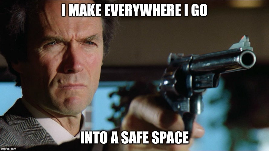 Firepower | I MAKE EVERYWHERE I GO INTO A SAFE SPACE | image tagged in dirty harry,guns,safe space | made w/ Imgflip meme maker
