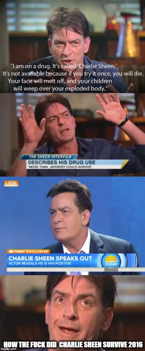 charlie sheen | HOW THE F**K DID CHARLIE SHEEN SURVIVE 2016 | image tagged in how tough are you,charlie sheen,don't do drugs,charlie sheen hiv | made w/ Imgflip meme maker