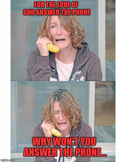 Hello, Hello, Hello, Is There Anybody In There...Just Nod If You Can Hear Me... | FOR THE LOVE OF GOD ANSWER THE PHONE WHY WON'T YOU ANSWER THE PHONE... | image tagged in bad news banana phone,memes,lynch1979 | made w/ Imgflip meme maker
