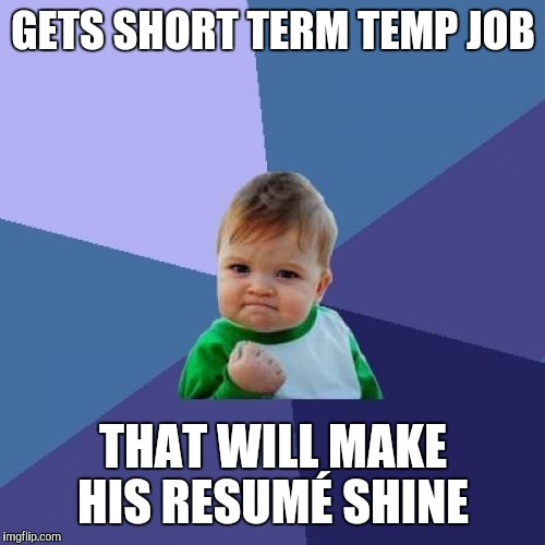 Success Kid Meme | GETS SHORT TERM TEMP JOB THAT WILL MAKE HIS RESUMÉ SHINE | image tagged in memes,success kid | made w/ Imgflip meme maker