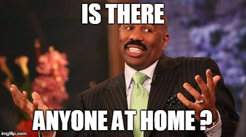 Steve Harvey Meme | IS THERE ANYONE AT HOME ? | image tagged in memes,steve harvey | made w/ Imgflip meme maker