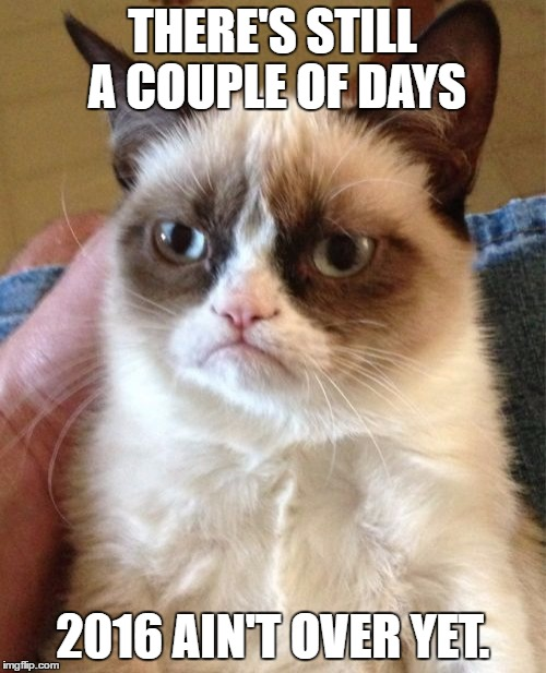 Grumpy Cat Meme | THERE'S STILL A COUPLE OF DAYS 2016 AIN'T OVER YET. | image tagged in memes,grumpy cat | made w/ Imgflip meme maker