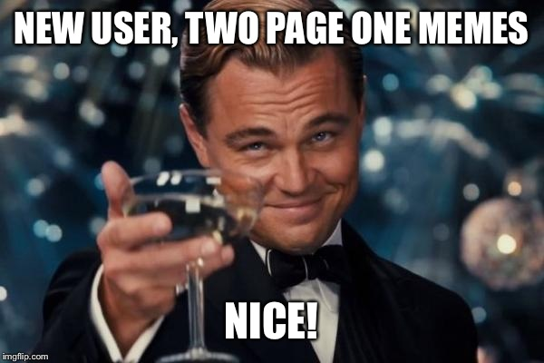 Leonardo Dicaprio Cheers Meme | NEW USER, TWO PAGE ONE MEMES NICE! | image tagged in memes,leonardo dicaprio cheers | made w/ Imgflip meme maker