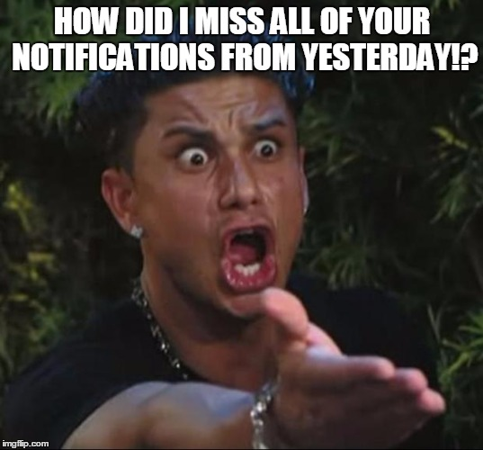 Pauly | HOW DID I MISS ALL OF YOUR NOTIFICATIONS FROM YESTERDAY!? | image tagged in pauly | made w/ Imgflip meme maker