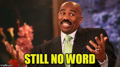 Steve Harvey Meme | STILL NO WORD | image tagged in memes,steve harvey | made w/ Imgflip meme maker