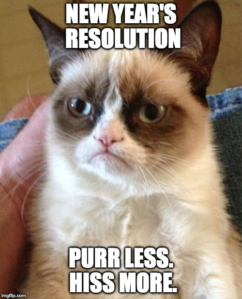 Mine is to eat more bacon. | NEW YEAR'S RESOLUTION PURR LESS. HISS MORE. | image tagged in memes,grumpy cat,purr,hiss,new year,resolution | made w/ Imgflip meme maker