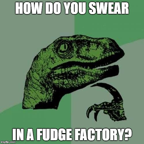 Oh Fu_ _ _ ! | HOW DO YOU SWEAR IN A FUDGE FACTORY? | image tagged in memes,philosoraptor | made w/ Imgflip meme maker